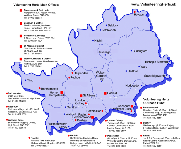 Volunteering Herts Map